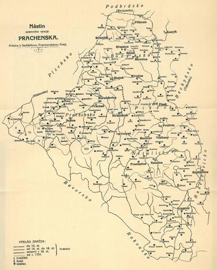Mapa Prácheňska z knihy A. Sedláčka - Děje Prachenského kraje